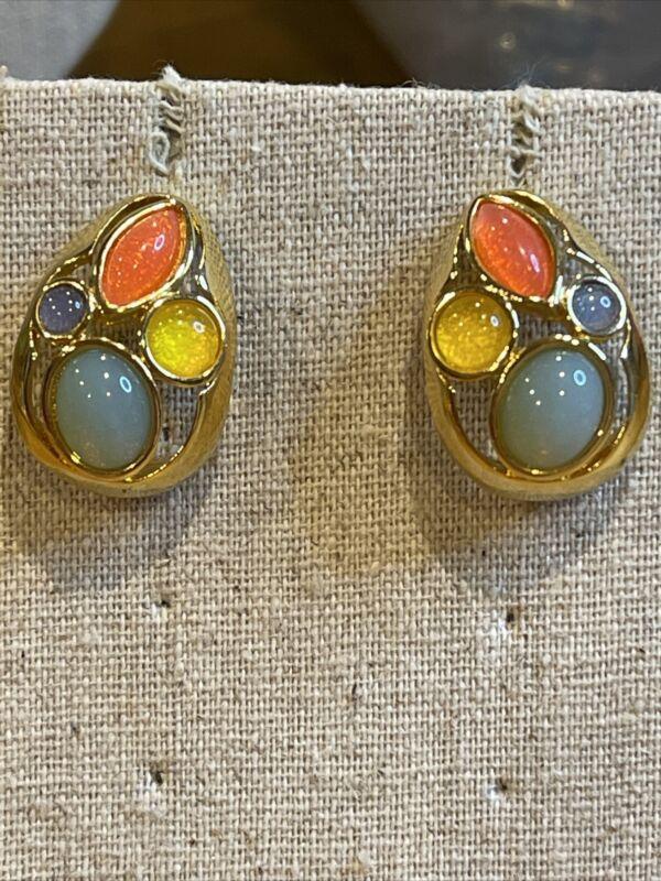 Vintage 80's Goldtone Trifari Signed Fruit Salad Cabochon Pierced Earrings
