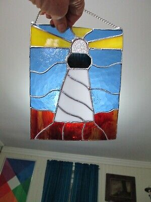 LIGHTHOUSE Stained Art Glass hanging window Wall Art Suncatcher hand made sea  - Ocean Stained Glass