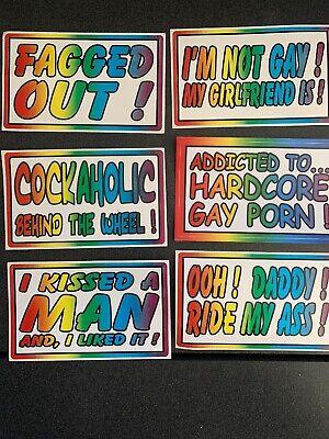- 6 Piece Gay Prank Bumper Stickers 3x5 Inches Kit #4