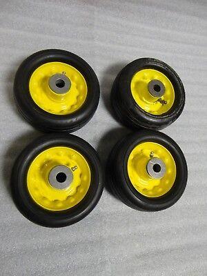 4 John Deere 6 Deck Mower Tires Wheels Wgrease Fitting 12 Shaft Size.