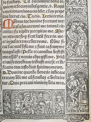 Book of Hours Leaf Vostre Horae Woodcut Border Dance of Death (3) Paris 1501