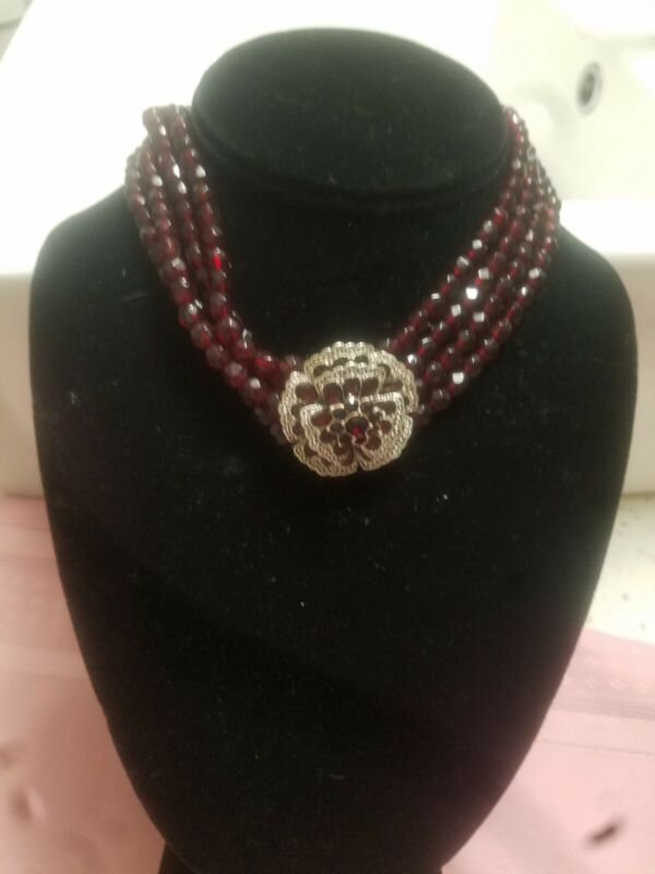 Sequin Silver Flower With Red Stones