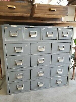 Vintage Metal Card Filing Cabinet Apothecary Cabinet 16 Ct Drawers