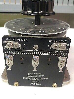 General Radio Co. Type W10 120v 10a 5060c Variac Variable Transformer
