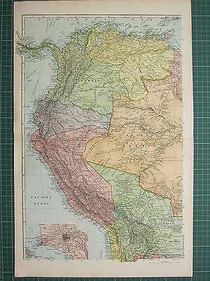 1900 LARGE VICTORIAN MAP ~ SOUTH AMERICA NORTH WEST PERU COLOMBIA VENEZUELA