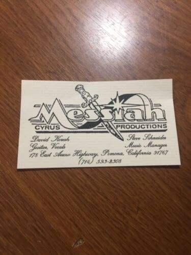 David Koresh business card