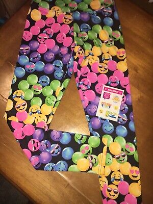 Justice Sz 14 Emoji Leggings Nwt Pink Purple Birthday Spring Easter Dance