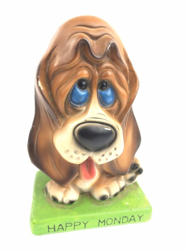 "Vintage Ceramaster Hound Dog Beagle Puppy ""Happy Monday"" Ceramic Penny Coin Bank"