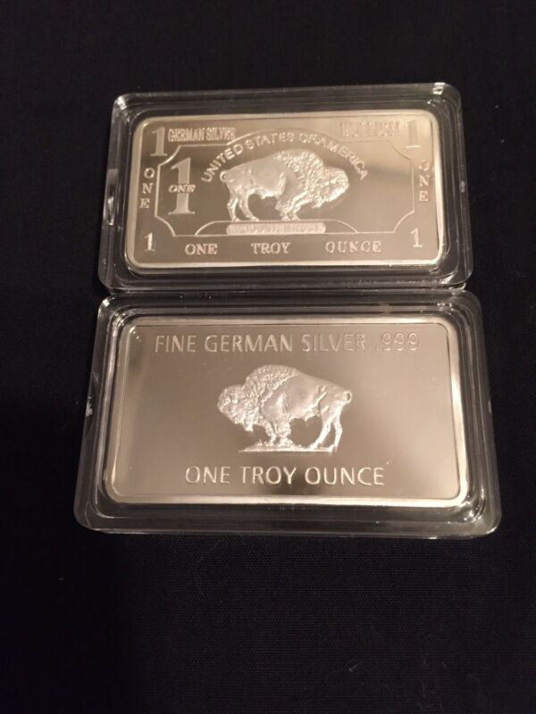 1 TROY OUNCE GERMAN SILVER ART BAR .999 Nickel Silver~Buffalo Both Sides~Case