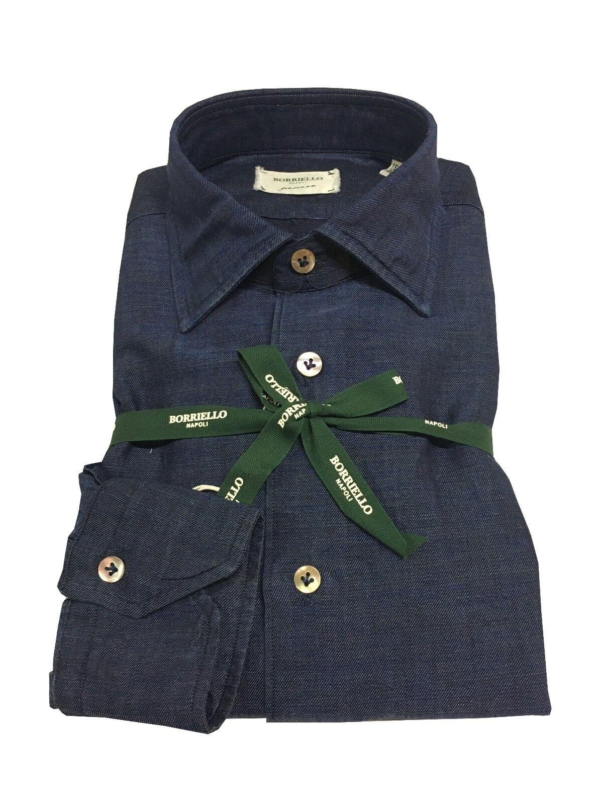 BORRIELLO camicia uomo denim 100% cotone MADE IN ITALY