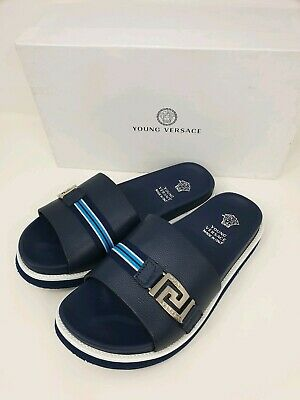 YOUNG VERSACE Leather Slides Sandals with Greca Trim - Navy - UK 7/EU 40