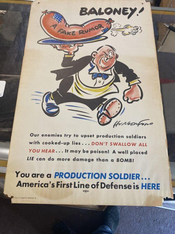 Cyrus Hungerford Ww2 Propaganda Poster Baloney Fake Rumor