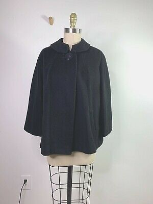 Vintage 60's Townley Muse Black Cashmere Jackie-O swing JACKET peter-pan collar