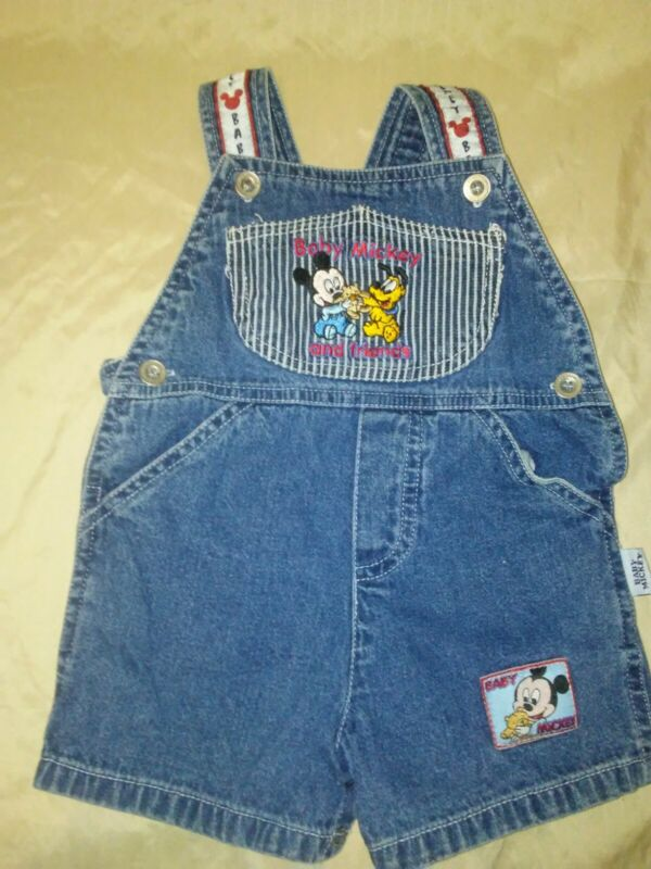 Vintage Baby Mickey Overalls Bibs Shorts 6-9 Months