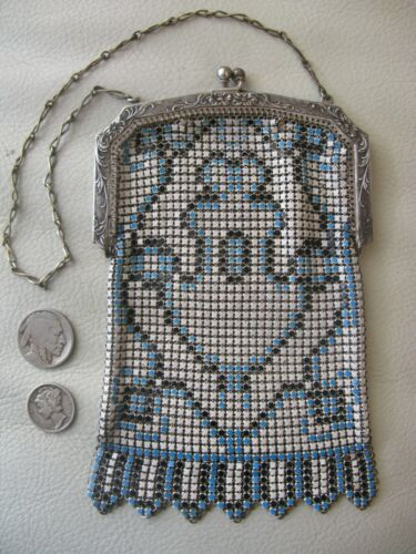 Antique Art Deco Silver Frame Black White Blue Enamel Chain Mai Mesh Purse