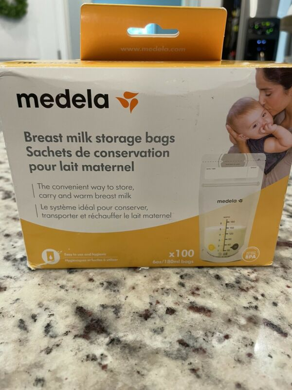 New Medela Breast Milk Storage 6 Oz Box 100 Count Ready to Use Sealed