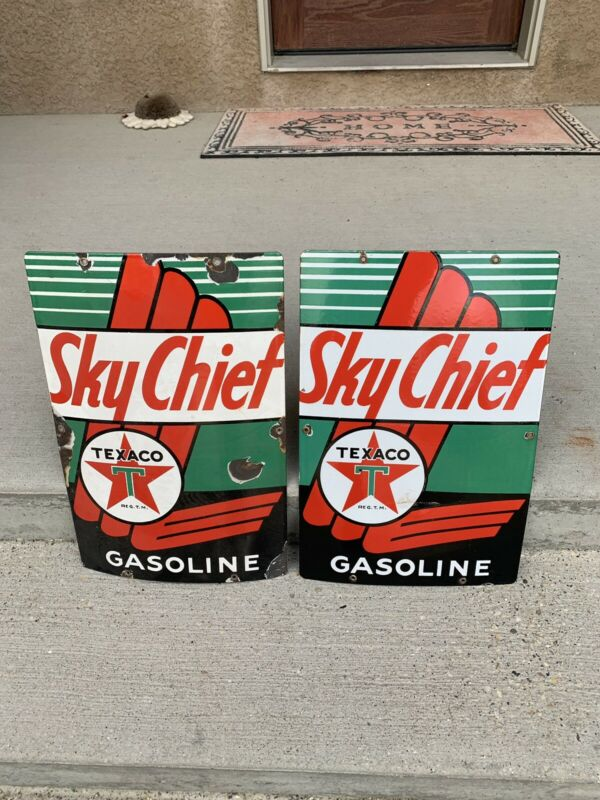 Vintage Texaco Sky Chief Porcelain Pump Plates Advertising Sign...