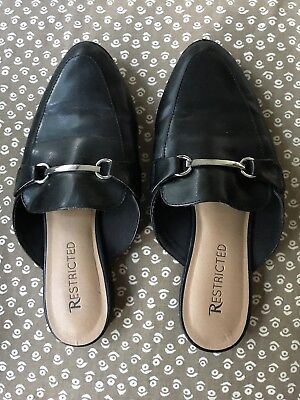 Restricted Black Closed Toe Slides Shoes Slip On Snaffle 8 8.5 #C2 2 Plain Toe Slip