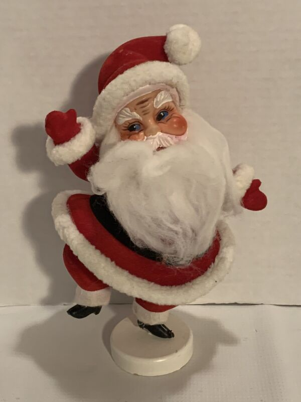 "Vintage 1950's Flocked Santa Claus Christmas Decor 9.5"" Tall Made In Japan 🎄🎄"