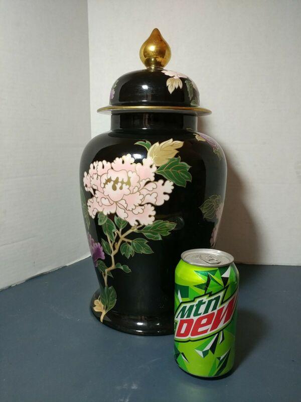 """Fitz & Floyd Cloisonne Peony Black 15 1/2"""" Floral Design Ginger Jar Japan 75"""