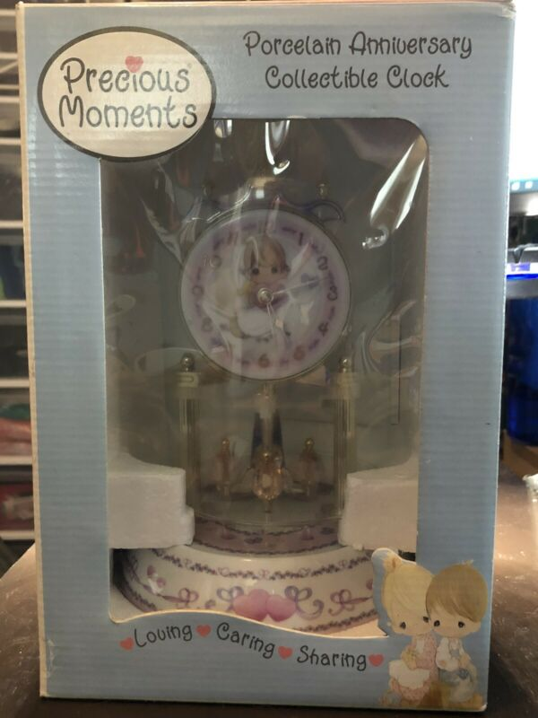 Precious Moments Porcelain Anniversary Loving Caring Sharing Dome Clock 2002