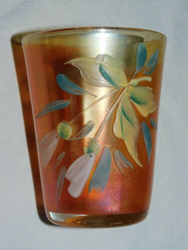 "CARNIVAL GLASS Drinking Tumbler Hand Painted Flowers 4"" Tall Marigold"