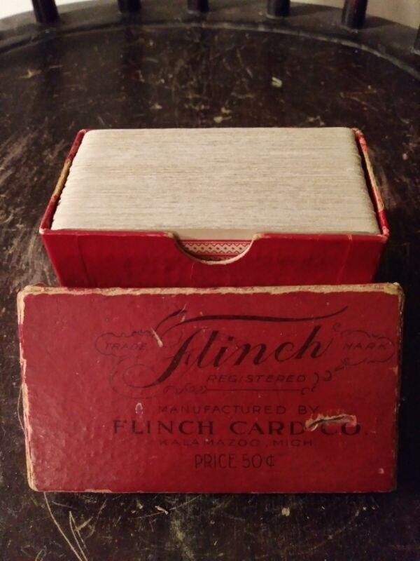 Early 20th Century Flinch Playing Cards Game W/ Original Box