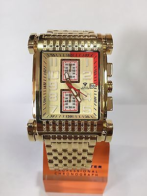 Men Aqua Master Jojo Jojino Joe Rodeo Yellow Metal Band 41Mm Diamond Watch W 330