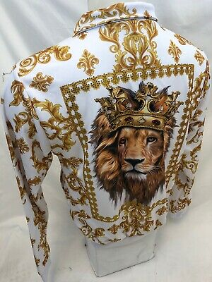 MENS VICTORIOUS TRACK JACKET Urban ZIP UP WHITE and GOLD STONED LION BLING 5001