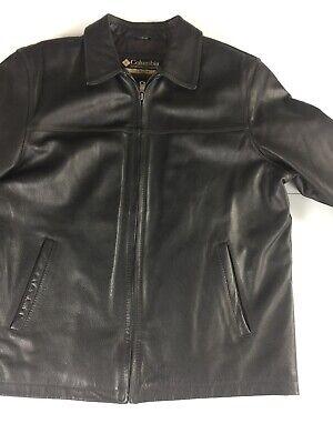 Columbia Mens Large Leather Jacket Flight Bomber Coat Cotton Lined Black
