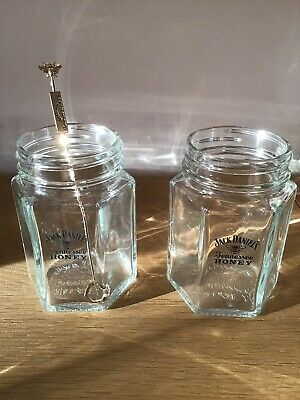2 Brand new Jack Daniels Tennessee Honey mason jar glasses + matching Stirer
