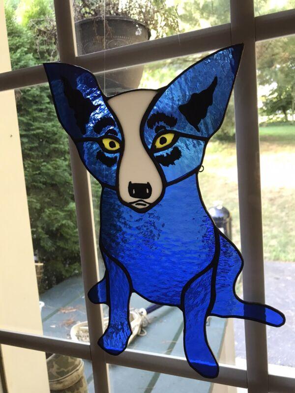 STAINED GLASS - DOG - AUSTRALIAN SHEPHERD - BLUE DOG - NEW ORLEANS