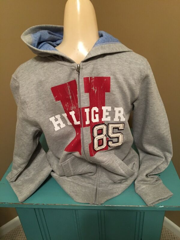 Tommy Hilfiger Boys Size Large 16/18 Hooded Full Zip Fleece Grey Jacket With 85
