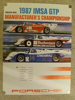 1987 Porsche 962 IMSA GTP Championship Showroom Advertising Poster RARE! Awesome