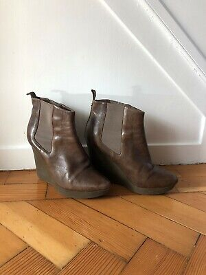 Jimmy Choo Brown Leather Wedged Ankle Boots Size 38/UK5.5