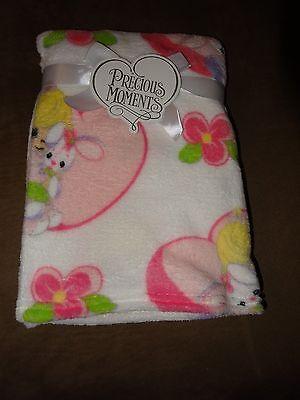 Precious Moments Girl With Bunny Plush Fleece Baby Blanket-30