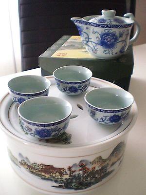 Chinesisches Teeservice Japan Teezeremonie Kanne Teeschalen u. Porzellan Tablett