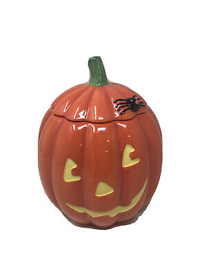 "7"" Pumpkin COOKIE JAR Jack O'Lantern HALLOWEEN Ceramic Hallmark Brand Rare EUC"