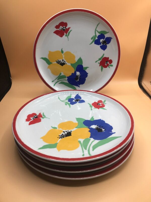 Hearthstone Block Vista Alegre Portugal Anemone Set of 5 Dinner Plates 10.5""