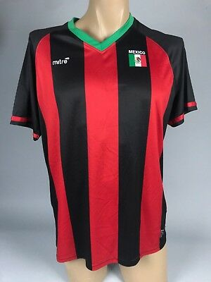 96440c817 Mitre Men Black Green Red Striped Mexico Team Soccer Sport Shirt Jersey  Medium M