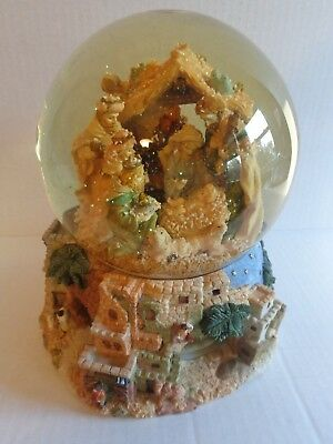 (Nativity Scene Musical Christmas Snow Globe Rotating Hark The Harold Angels Sing)