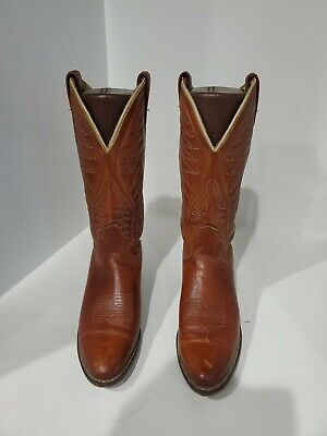 ACME Womens Tan Leather Western Boots Size 7.5 A
