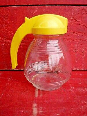 VINTAGE 1950'S GLASS SUGAR DISPENSER, YELLOW PLASTIC TOP - HYGENE WARE