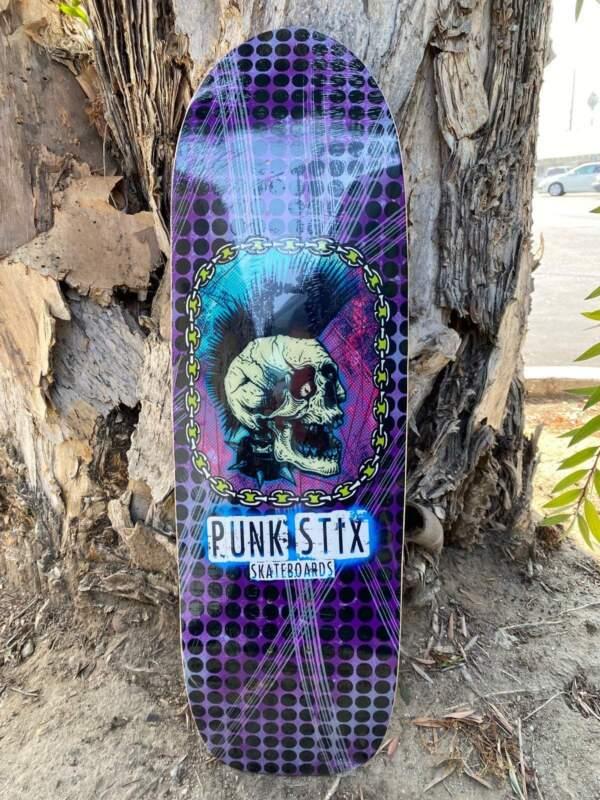 Punk Stix Purple Punk Skull Skateboard Deck