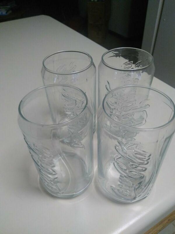 4 Coca Cola Glasses clear drinking glasses