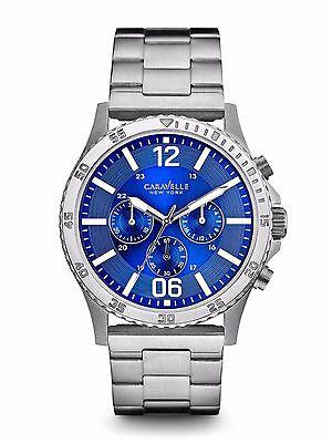 Caravelle New York Mens 43A116 Quartz Chronograph Blue Dial Bracelet 44Mm Watch
