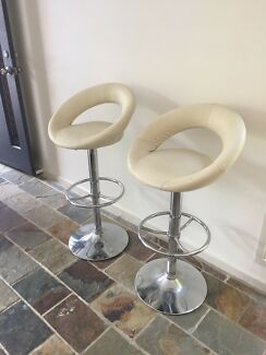 Matching adjustable cream leather stool