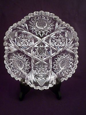 Exceptional American Brilliant Period Cut Crystal Low Bowl, Antique Glass