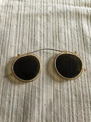 Vintage Gold & Plastic Frame Clip On Sun Glasses Green Shade Steam Punk