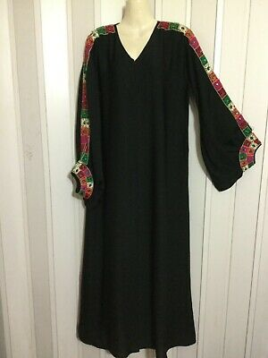 Hand embroidery maxi ABAYA Dress black long sleeve party Caftan gown Ramadan